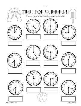SUMMER Telling Time Practice Worksheet Pack - hour/half hour, quarter hour