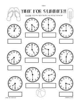summer telling time practice worksheet pack hour half hour quarter hour. Black Bedroom Furniture Sets. Home Design Ideas