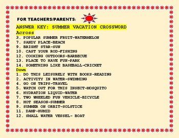 SUMMER VACATION CROSSWORD