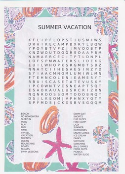 SUMMER VACATION / END OF SCHOOL word search puzzle