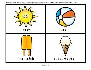 SUMMER Vocabulary Center and Group Activities for Preschool and Kindergarten