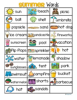 SUMMER Vocabulary List 32 Words and Pictures FREE by ...