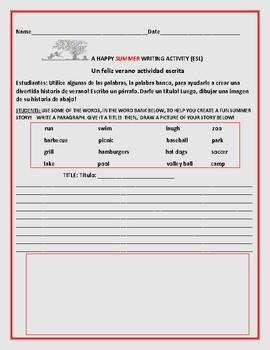 SUMMER WRITING ACTIVITY:ESL: GRADES 2-4