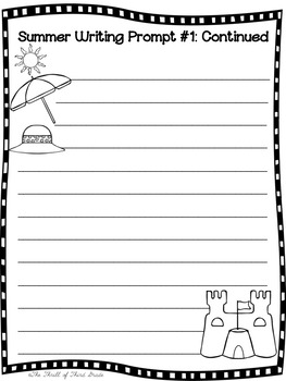 SUMMER WRITING PROMPTS BUNDLE--Summer Goals/Activities-Fourth of July-Labor Day