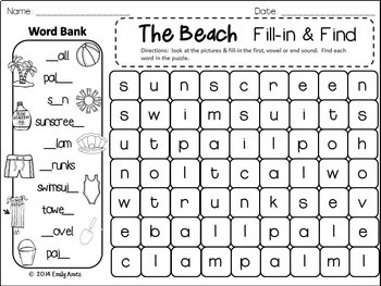 SUMMER Word Search: Fill-in-and-Find Phonics Puzzles (End of the year, No Prep)