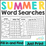 SUMMER Word Search: Fill-in-and-Find Puzzles (End of the year)