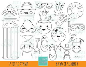 Summer kawaii. Clipart pool graphics beach