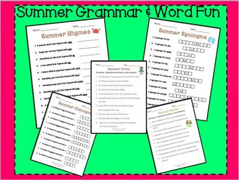SUMMER fUN: Rhymes Synonyms Antonym Nouns & Verbs (Grammar and Word Packet)