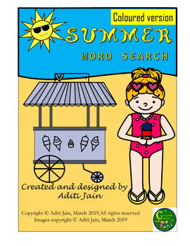 SUMMER vocabulary word search Puzzle-COLORED VERSION