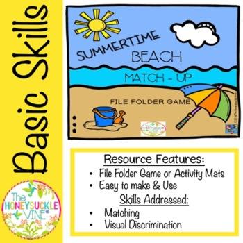 SUMMERTIME BEACH MATCH-UP File Folder Game