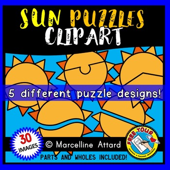 SUN PUZZLES CLIP ART: SELF-CORRECTING PUZZLE TEMPLATES: SUMMER CLIPART