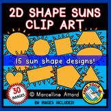 SUN SHAPES CLIP ART: 2D SHAPES SUNS