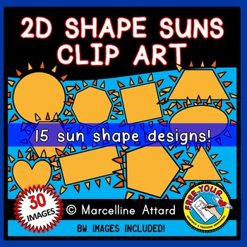SUN SHAPES CLIP ART: 2D SHAPES SUNS