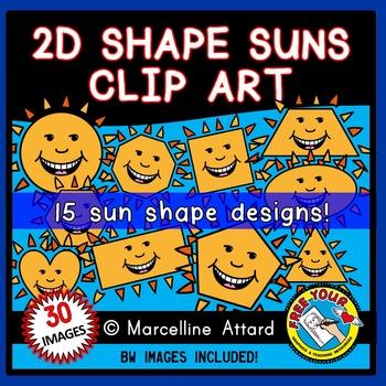 SUN SHAPES CLIP ART: 2D SHAPES SUNS WITH FACE