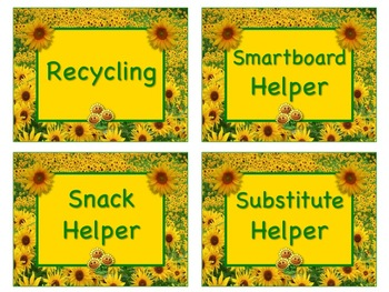 SUNFLOWER Job Chart Cards/Signs - Great for Classroom Management! GORGEOUS!