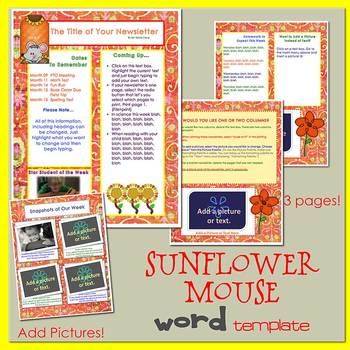 SUNFLOWER MOUSE - Newsletter Template WORD