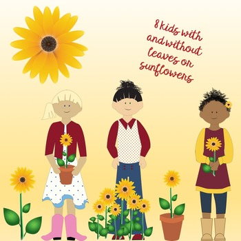 SUNFLOWERS AND LEAVES AUTUMN CLIPART