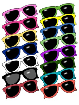 SUNGLASSES CLIP ART * COLOR AND BLACK AND WHITE