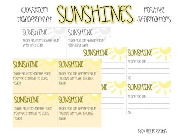 SUNSHINE'S - Positive Affirmations - Classroom Management