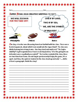 SUPER BOWL 2018 CREATIVE WRITING PROMPT