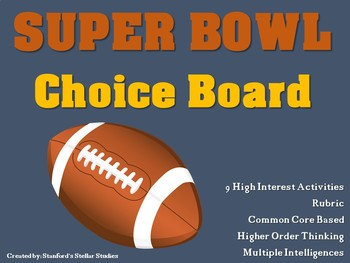 SUPER BOWL Choice Board Football Activities Menu Project with Rubric