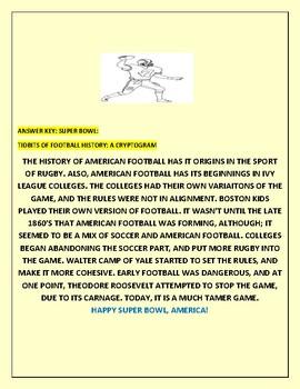 SUPER BOWL: HISTORY OF FOOTBALL: A CRYPTOGRAM W/ANSWER KEY