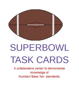 SUPER BOWL MATH TASK CARD CENTER ACTIVITY