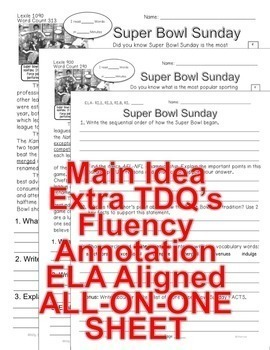 SUPER BOWL SUNDAY FACTS Differentiated 5 levels Informational Text Close Read