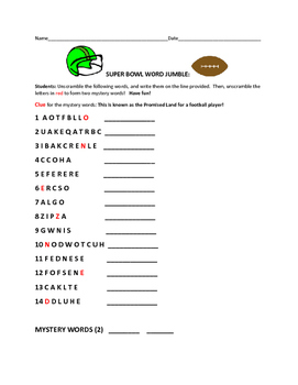 SUPER BOWL WORD JUMBLE ACTIVITY!  W/ MYSTERY WORDS/HAVE FUN!