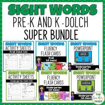 Pre-K and Kindergarten Activity Worksheets, PowerPoint, Flash Cards Bundle Dolch