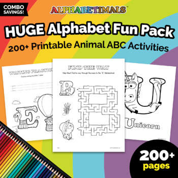SUPER BUNDLE – All 175+ Alphabet Coloring & Activity Worksheets  – Alphabetimals