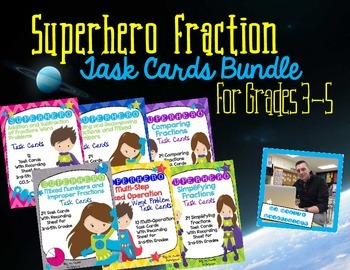 SUPER BUNDLE of Fraction Task Cards- Superhero Themed for Grades 3, 4, 5