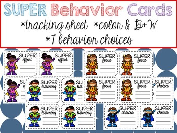 SUPER Behavior Cards - Behavior Management