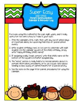 SUPER EASY 2016-2017 Parent Communication Calendar & Behavior Log