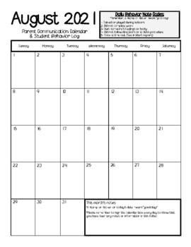 SUPER EASY 2018-2019 Parent Communication Calendar & Behavior Log