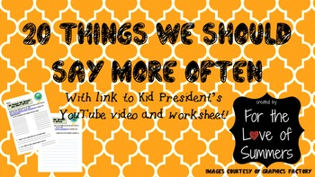 SUPER FUN Writing  Brainstorming Activity ~ Wkshts for Kid President's video