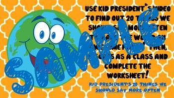 SUPER FUN Writing  Brainstorming Activity ~ Wkshts for Kid President's video