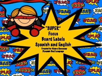 SUPER Focus Board Labels-Superhero Theme (English and Spanish)