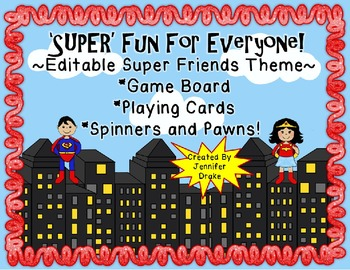 'SUPER' Fun For Everyone!  Super Friends Game Board, Cards,Spinners & Pawns!
