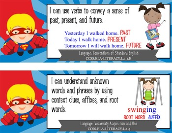 "SUPER HERO - 1st Grade Common Core Standards ""I CAN"" format / posters"