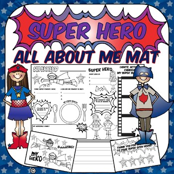 SUPERHERO All About Me Mat! Great for Open House,Back to School,or Fun!