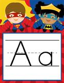 SUPER HERO - Alphabet Banner, handwriting, A to Z, ABC print font