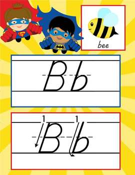 SUPER HERO - Alphabet Cards, Handwriting, D'Nealian, ABC cards with pictures