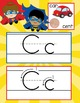 SUPER HERO - Alphabet Cards, Handwriting, Flash Cards, ABC print with pictures