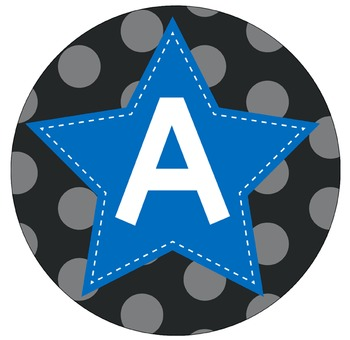 SUPER HERO - Bulletin Board Circle Letters / Word Wall / BLUE stars