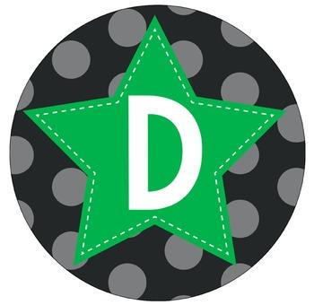 SUPER HERO - Bulletin Board Circle Letters / Word Wall / GREEN stars
