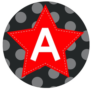 SUPER HERO - Bulletin Board Circle Letters / Word Wall / RED stars