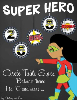 SUPER HERO - Classroom Decor: Batman Theme Table Numbers and Signs