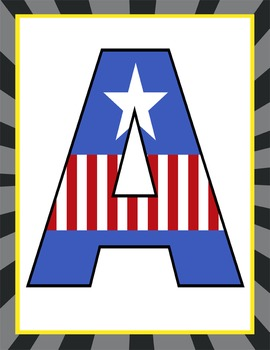 SUPER HERO - Classroom Decor: CAPTAIN AMERICA Banner LETTERS