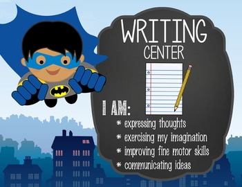 SUPER HERO - Classroom Decor: Center Signs, student cards